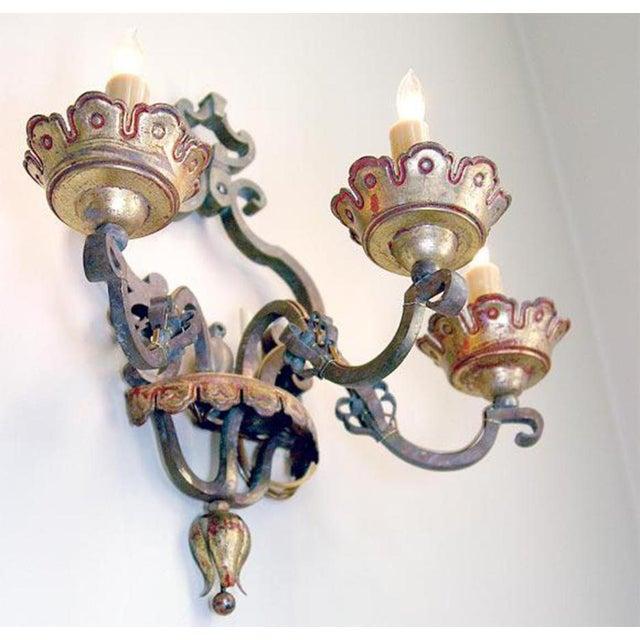 Italian Bronze Sconces Pair For Sale - Image 4 of 6