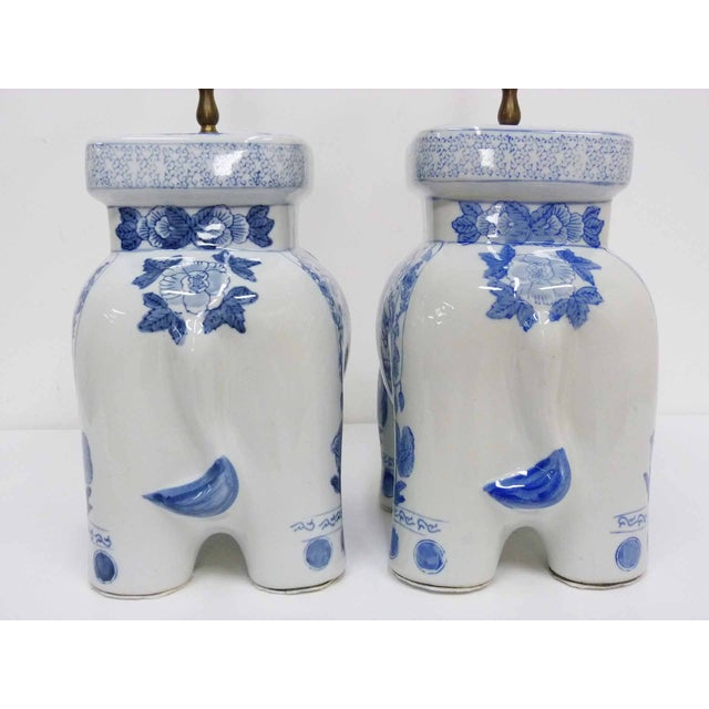 Chinese Blue & White Elephant Table Lamps - A Pair - Image 8 of 10