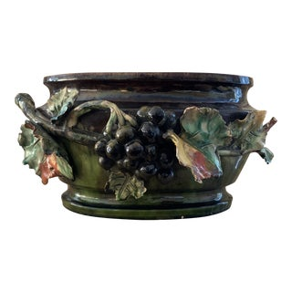 Antique French Grapes and Leaf Terra-Cotta Majolica Floral Cachepot For Sale