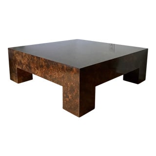 Milo Baughman Parsons Style Faux Stone Coffee Table For Sale