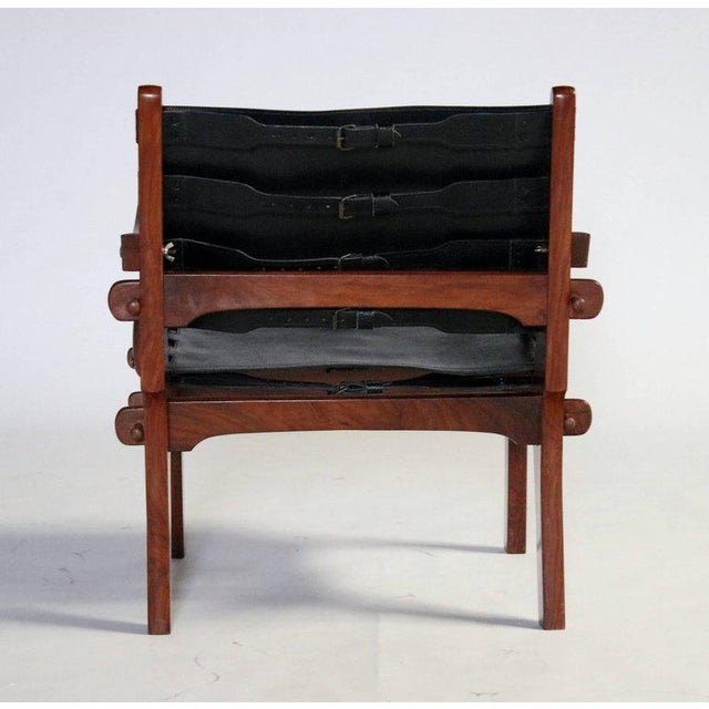 Pair of Angel Pazmino Rosewood and Leather Sling Armchairs - A Pair For Sale - Image 9 of 10