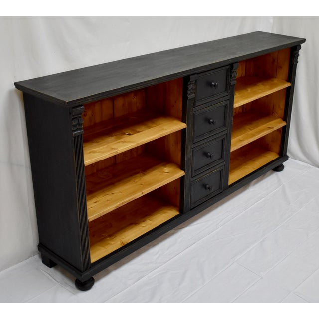 Country Long Country Pine Bookcase With Four Drawers For Sale - Image 3 of 13