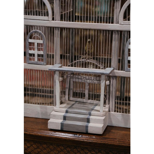 Early 20th Century Early 20th Century French Carved and Painted Wooden and Wire Birdcage For Sale - Image 5 of 10