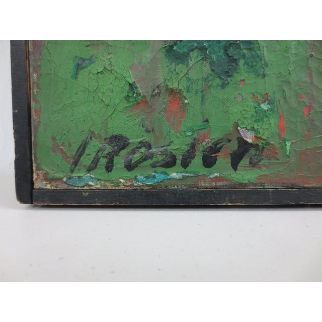 Vintage Green Abstract Painting by Rosien - Image 4 of 5