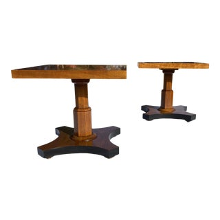 Pair of Highly Figured Bookmatched Walnut End Tables by Baker Furniture For Sale