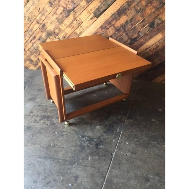 Vintage Brown Saltman Cocktail Cart Table - Image 8 of 8