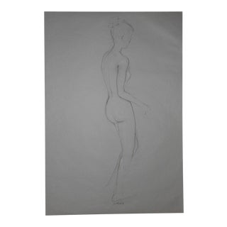 Original Vintage Female Nude Drawing-Signed For Sale