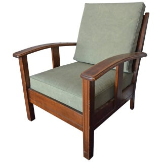 1940s Newly Upholstered Sage and Wood Armchair