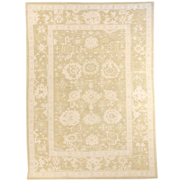 Contemporary Persian Oushak Rug - 10′ × 13′9″ For Sale