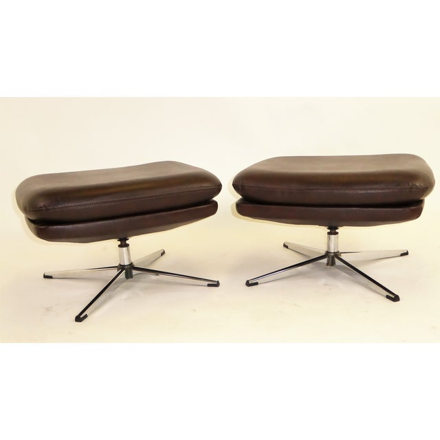1970s Overman Swivel Foot Stools Benches in Dark Brown Leatherette- A Pair For Sale - Image 13 of 13