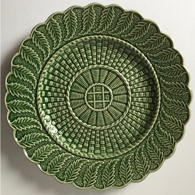 6 Green Majolica Basket Weave Dishes-Bordallo Pinheiro For Sale In New York - Image 6 of 10
