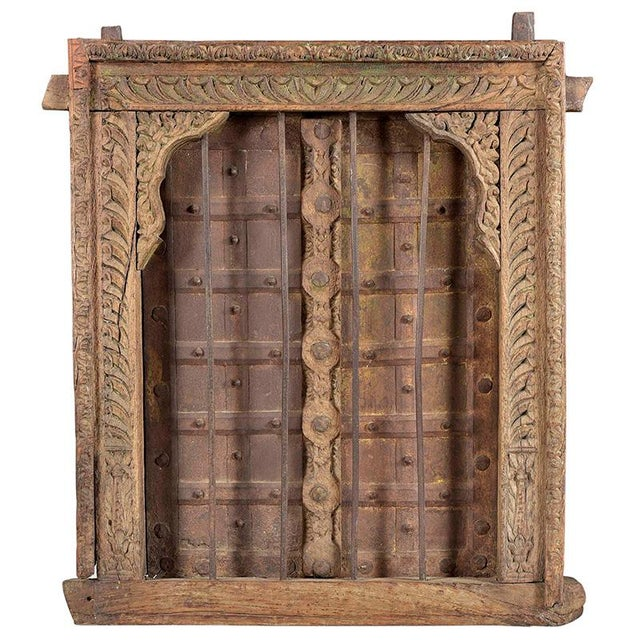 Indian Antique Hand Carved Decorative Window For Sale - Image 3 of 3
