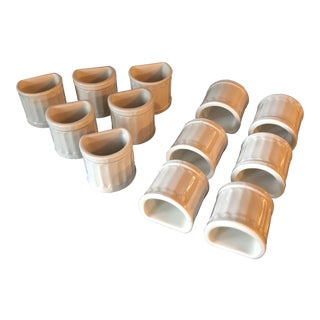 Corinthian Style Ceramic Napkin Rings - Set of 12 For Sale