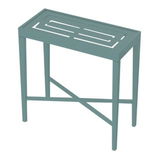 Oomph On the Rocks Rectangle Outdoor Side Table, Green For Sale