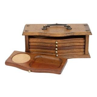 Vintage Teak Coaster and Snack Set - Set of 6 Coasters 1 Box For Sale