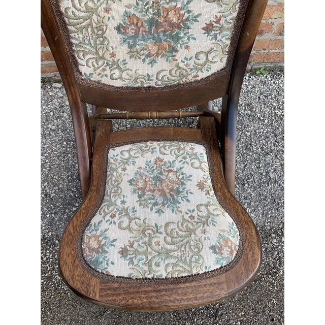 Early 20th Century Vintage Victorian Style Upholstered Folding Rocking Chair For Sale - Image 5 of 10