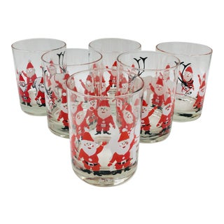 1960s Mid Century Georges Briard Santa & Reindeer Double Old Fashioned Glasses - Set of 6 For Sale