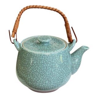 Vintage Kotobuki Japan Teapot Crackled Glaze Turquoise For Sale