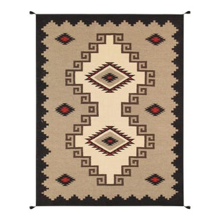 Navajo Style Wool Area Rug - 4′10″ × 6′11″ For Sale