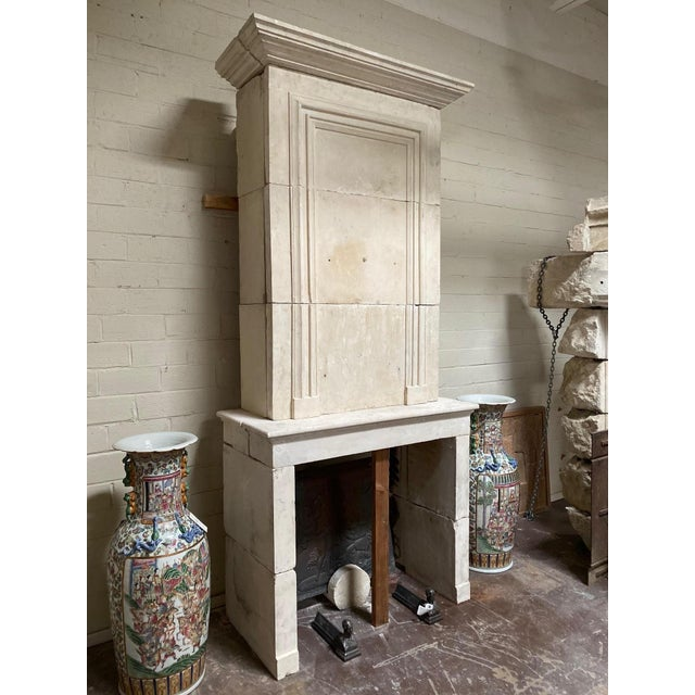 19th Century Limestone Mantel with Trumeau For Sale In Dallas - Image 6 of 9