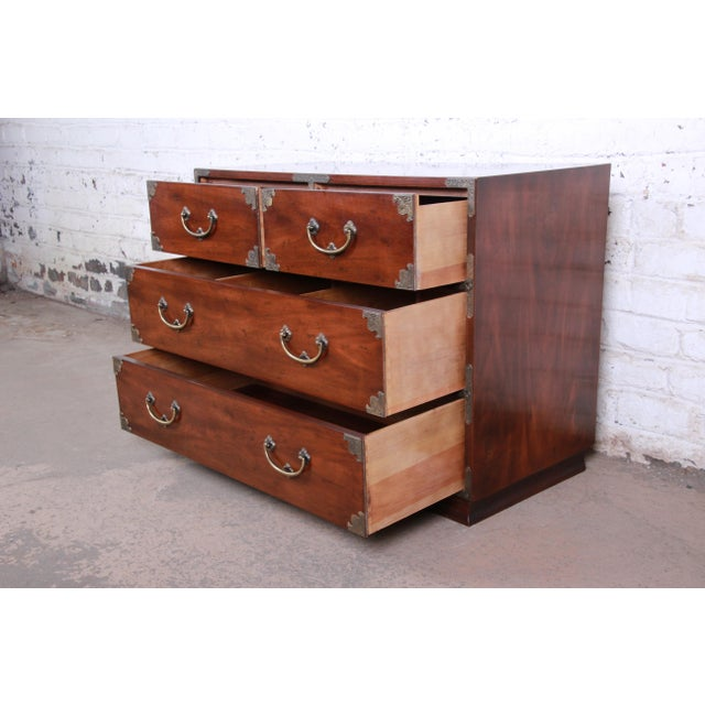 Henredon Henredon Chinoiserie Campaign Style Walnut Four-Drawer Dresser Chest For Sale - Image 4 of 13