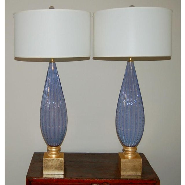 Murano Vintage Murano Opaline Glass Table Lamps Lavender For Sale - Image 4 of 10
