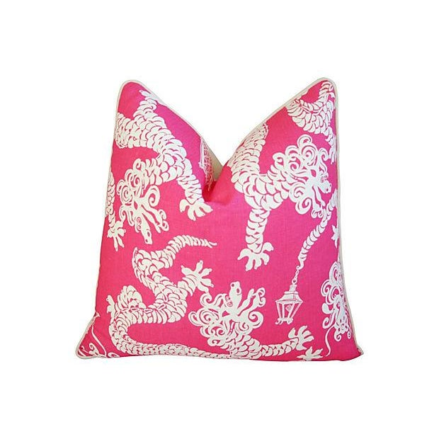 Designer Lee Jofa Lilly Pulitzer Dragon Tail Lights Pink/White Pillows - Pair - Image 2 of 7