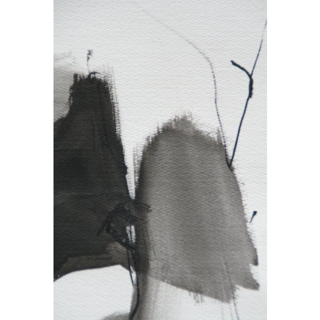 Vintage Abstract Black and White Watercolor Painting - Image 3 of 6