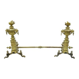 Pair of 19th C. French Empire Neoclassical Flame & Lion Brass Paw Andirons & Bar For Sale