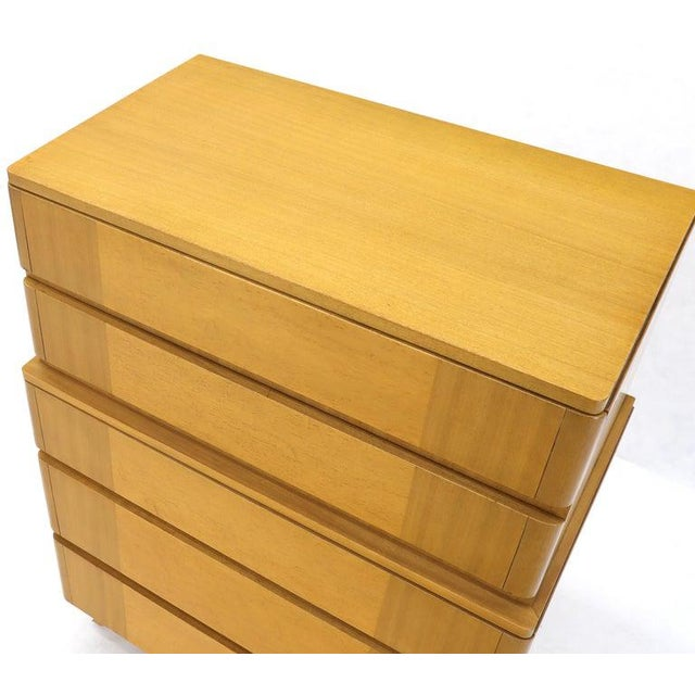 Five Drawers Blond to Gold Mahogany Saarinen High Chest Dresser For Sale - Image 6 of 11