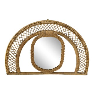 Arched Wicker & Rattan Mirror For Sale