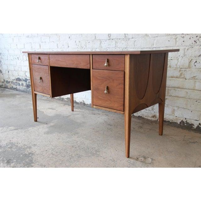 Broyhill Brasilia Mid-Century Modern Sculpted Walnut Desk For Sale - Image 13 of 14