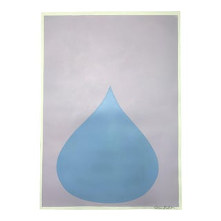 Fat Drop of Summer Blue on Pale Lilac Painting