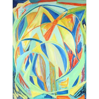 """Georgette London Owens """"Leonid Meteor Shower"""" Large Cubist Abstract Oil Painting, 2000 For Sale"""
