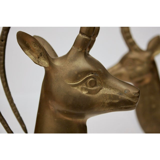 Large Brass Gazelle Sculptural Bookends - Image 5 of 8
