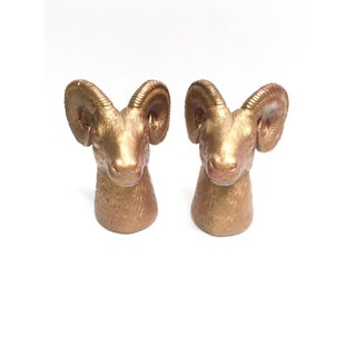 Vintage Gold Chalkware Ram's Head Bookends Preview