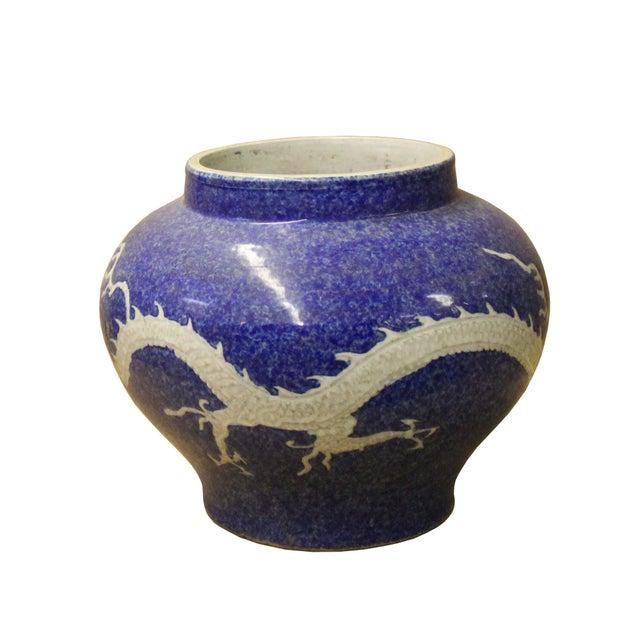 Handmade Ceramic Blue White Dimensional Dragon Pattern Vase Jar For Sale In San Francisco - Image 6 of 8