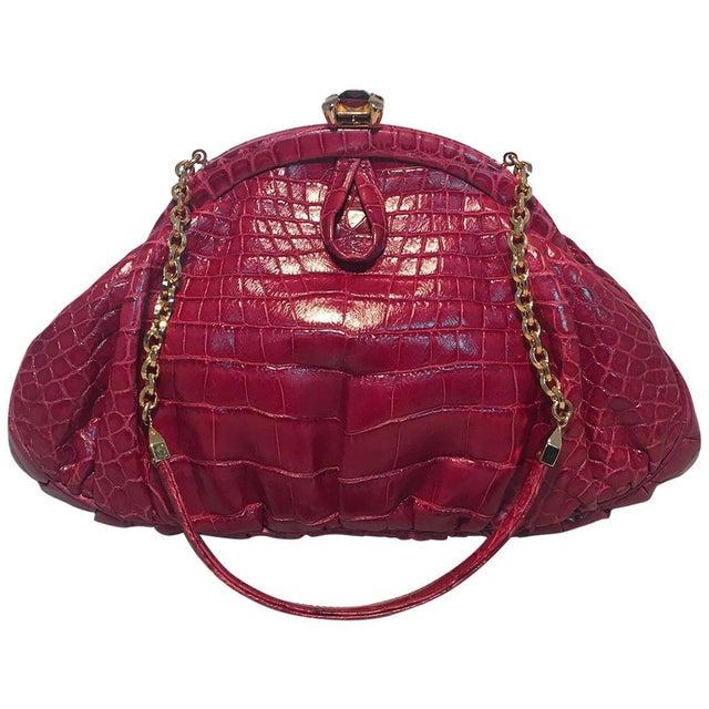 Judith Leiber Small Red Alligator Handbag For Sale - Image 9 of 9