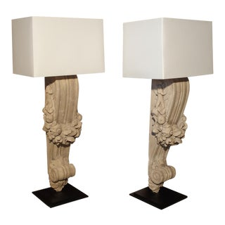 Pair of Patinated Terra Cotta Lamps From France, C.1900 For Sale