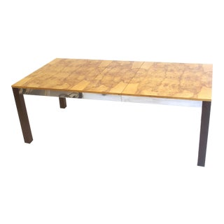 Modernist Burl Dining or Conference Table With Two Leafs For Sale