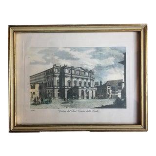 """Framed """"La Scala"""" Theatre Aquatint Print For Sale"""