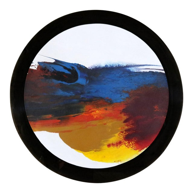 Abstract Round Acrylic Canvas Painting Mounted on Smoke Plexiglass by Ted R. Lownik For Sale