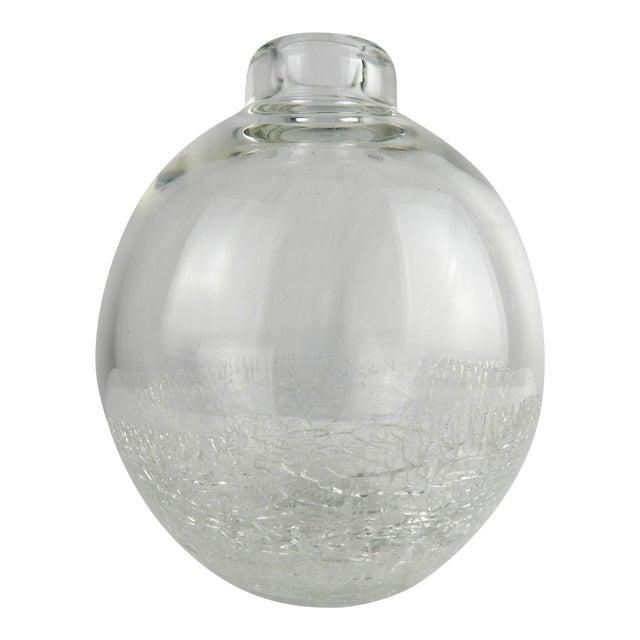 Crackle Art Glass Vase For Sale