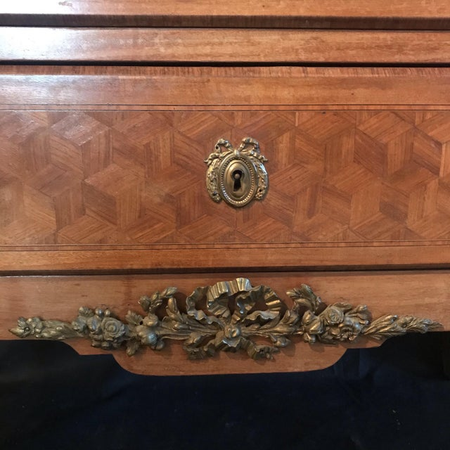French French Antique Marquetry Commode or Chest of Drawers With Marble Top For Sale - Image 3 of 13