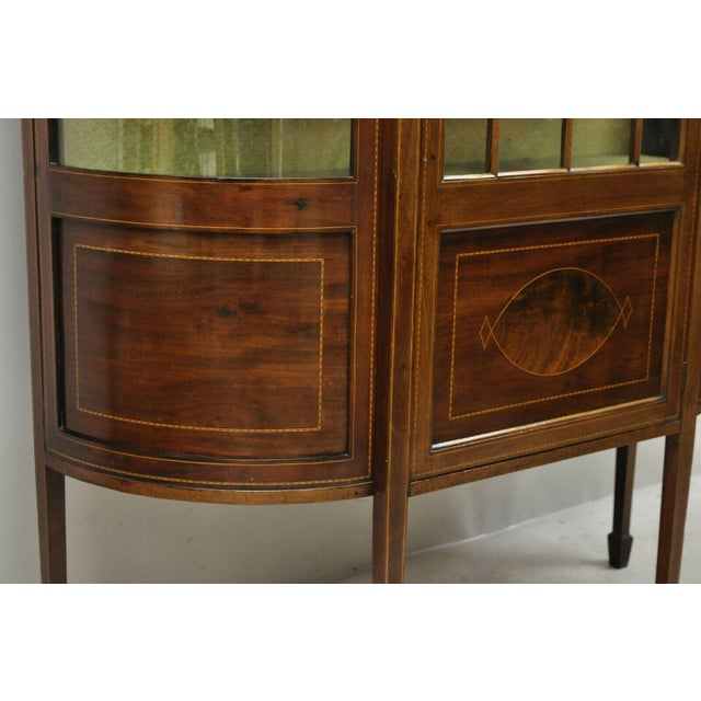 English Edwardian Satinwood Inlay Bowed Curved Glass China Display Cabinet Curio For Sale - Image 11 of 13