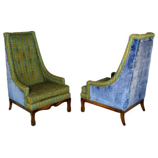 Pair of Brandt Tall Back Lounge Chairs in Jewel Tone Stripe and Blue Velvet For Sale