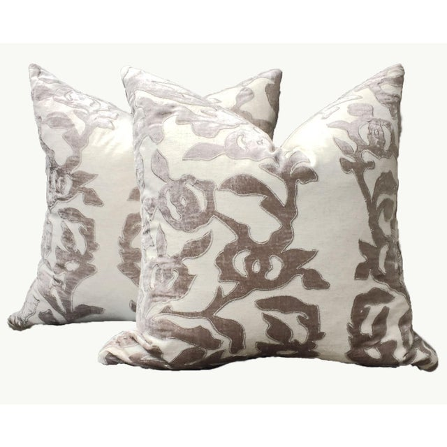 Contemporary Linen Pillows With Velvet - a Pair - Image 7 of 7