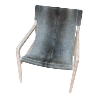 Hand Made Antiqued Cowhide Sling Chair For Sale
