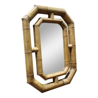 Vintage Boho Chic Organic Bamboo Mirror 1970s For Sale