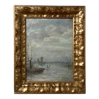 Antique Framed Oil Painting on Canvas by j.f. Hoppenbrouwers For Sale